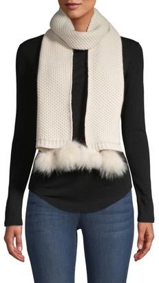 Portolano Fox Fur Pom-Pom Cashmere Knit Scarf