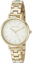 Karen Millen Women's Quartz Watch with White Dial Analogue Display and Gold Stainless Steel Bracelet KM126GM