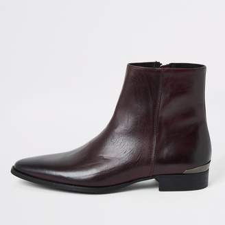 River Island Mens Dark Red leather pointed boots