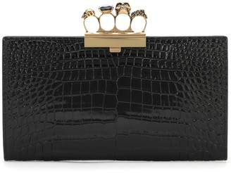 Alexander McQueen Four Ring Small croc-effect leather clutch