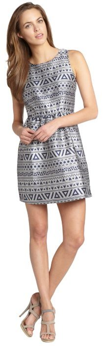 Romeo & Juliet Couture blue and silver printed fit and flare sleeveless dress