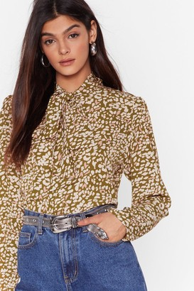Nasty Gal Womens Meow We Like It Leopard Pussybow Blouse - Green - 4, Green