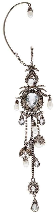 Alexander McQueen Swarovski crystal pearl single hoop ear cuff