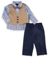Nautica 4-Piece Solid Twill Shirt, Bow Tie, Vest, and Pant Set in Khaki
