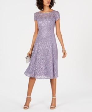 SL Fashions Sequined Lace Midi Dress