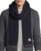 Moncler Men's Bicolor Wool Cable-Knit Scarf