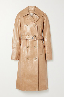 Yves Salomon Cracked Patent-leather Trench Coat - Peach