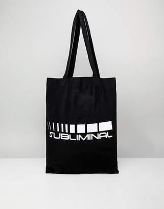 Asos Design DESIGN organic tote bag in black with subliminal print