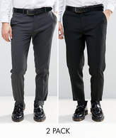 Asos 2 Pack Skinny Trouser In Black And Charcoal Save