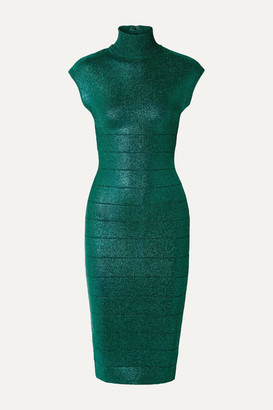 Herve Leger Metallic Bandage Turtleneck Dress - Emerald
