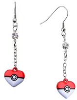 Pokemon Women's Poké Ball Stainless Steel Heart Shape Dangle Earrings