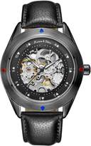 K&S KS Men's Automatic Mechanical Skeleton Stainless Steel Leather Strap Analog Wrist Watch KS383