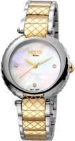 Ferré Milano Women's 34mm Stainless Steel 3-Hand Knurl Watch with Bracelet, Steel/Golden