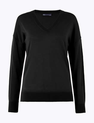 M&S CollectionMarks and Spencer Pure Merino Wool Relaxed Fit V-Neck Jumper
