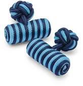 Charles Tyrwhitt Sky and Navy Barrel Knot Viscose/Elastane Cuff Links