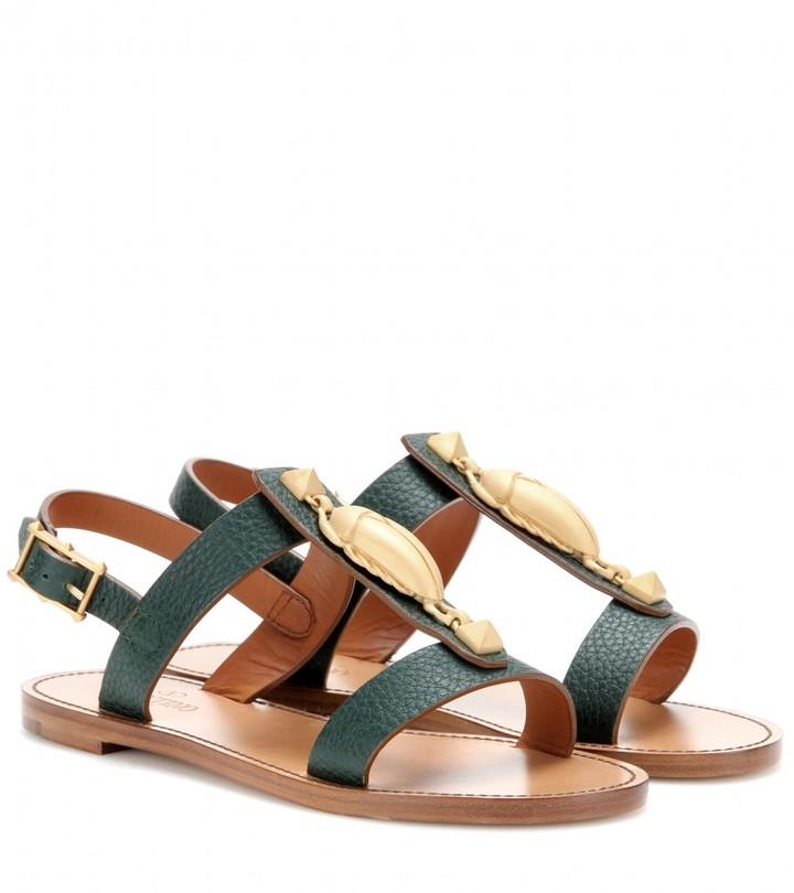 Valentino Scarab-embellished leather sandals
