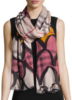 Burberry Scalloped Wool-Blend Check Scarf, Light Pink