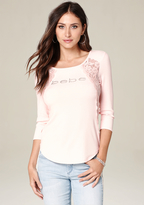 Bebe Logo Crochet Lace Top