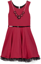 Beautees Hot Pink Lace Skater Dress - Girls