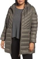 Bernardo Plus Size Women's Hooded Packable Down & Primaloft Coat