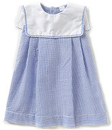 Edgehill Collection Little Girls 2T-4T Square-Neck Embroidered Seersucker Dress
