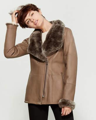 Intuition Paris Long Leather & Real Fur Reversible Jacket