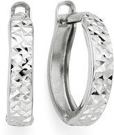 FINE JEWELRY Diamond-Cut 14K White Gold Hinged Hoop Earrings