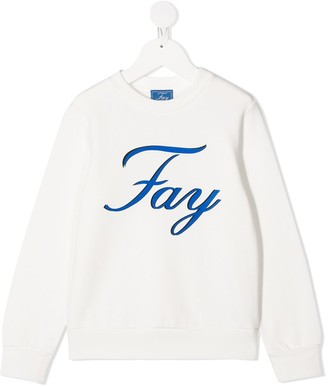 Fay Kids Logo-Print Cotton Sweatshirt