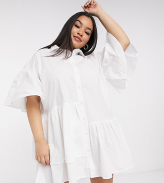 Neon Rose Plus oversized shirt dress with asymmetric hem in cotton