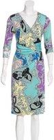 Etro Abstract Print Surplice Dress