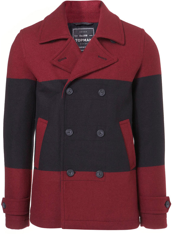 Topman Red Black Wool Skinny Peacoat