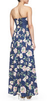 French Connection Spring Bloom Strapless Floral-Print Maxi Dress, Prince Blue