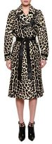 Bottega Veneta Belted Leopard-Print Fur Trenchcoat, Black