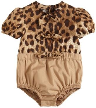 Dolce & Gabbana Leopard Print Jersey & Poplin Bodysuit