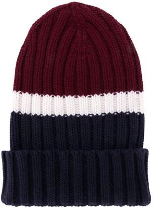 Eleventy Colour-Block Beanie Hat