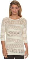 Dana Buchman Women's Open-Work Crewneck Sweater
