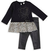 Petit Lem Baby Girls Wild Princess Top and Faux Leather Leggings Set