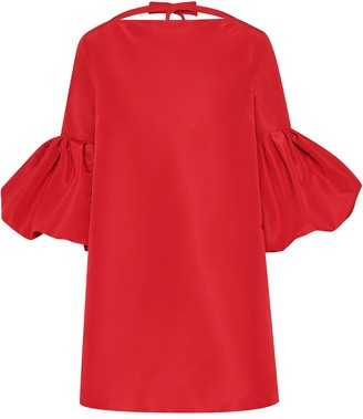 Oscar de la Renta Puff Sleeves Tie Back Dress