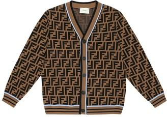 Fendi Kids FF-jacquard wool cardigan