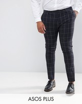Asos PLUS Super Skinny Suit Pants in Navy Check With Nep