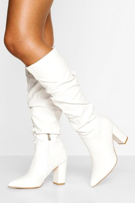 boohoo Slouched Block Heel Knee High Boots