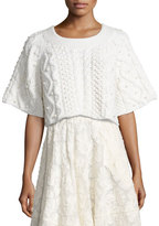 Co Cropped 1/2-Sleeve Cable-Knit Sweater with Pearl Details, Ivory