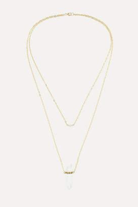 Harris Zhu - 14-karat Gold, Crystal Quartz And Diamond Necklace - one size