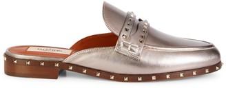 Valentino Rockstud Metallic Leather Mules