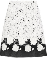Giambattista Valli Cotton-blend Bouclé, Guipure Lace And Silk-organza Skirt - White
