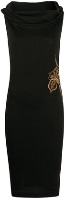A.N.G.E.L.O. Vintage Cult 1980s Floral Embroidery Fitted Dress