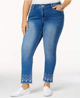 Hydraulic Plus Size Embroidered Cropped Jeans