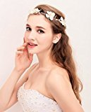 Ivory Flower with Pearl Bridal Headband - For Wedding Bridal Birthday Tiaras (Style 2)