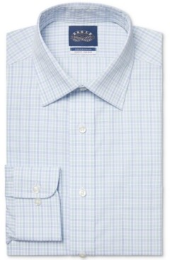 Eagle Men's Slim-Fit Non-Iron Stretch Collar Check Dress Shirt