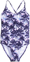 H&M Patterned Swimsuit - Dark blue/palms - Kids